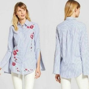 Merona Target | Embroidered Bell-sleeve Button Up